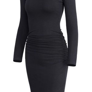 Dresses & Skirts - 0219 Women's Casual Long Sleeve Ruched Bodycon